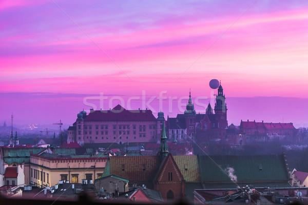 Polonia cracovia castillo edad nocturna de la ciudad hermosa Foto stock © bloodua