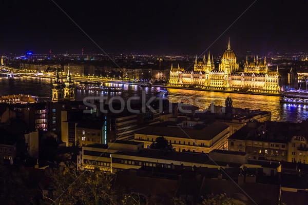 Budapest parlamento edificio Hungría crepúsculo noche Foto stock © bloodua