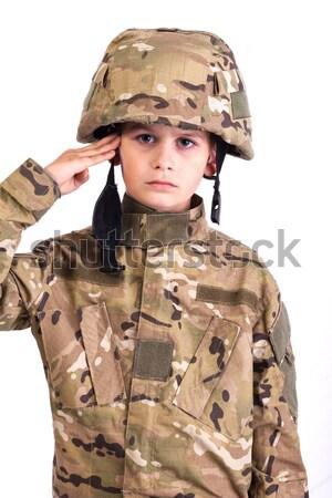 Stok fotoğraf: Genç · asker · gibi · yalıtılmış