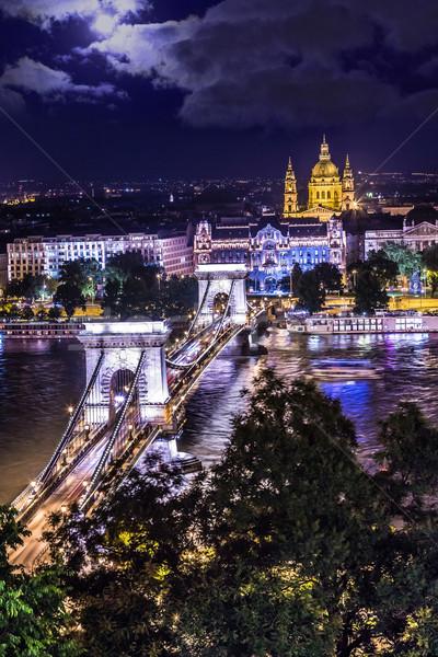 Stock fotó: Panoráma · Budapest · Magyarország · lánc · híd · folyó