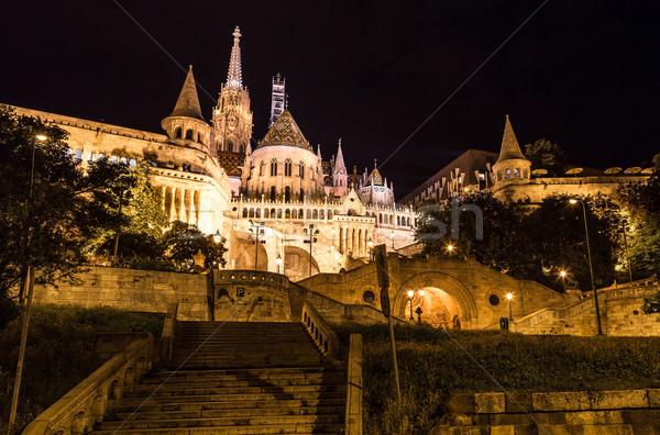Fisherman's bastion night view, Budapest, Hungary Stock photo © bloodua