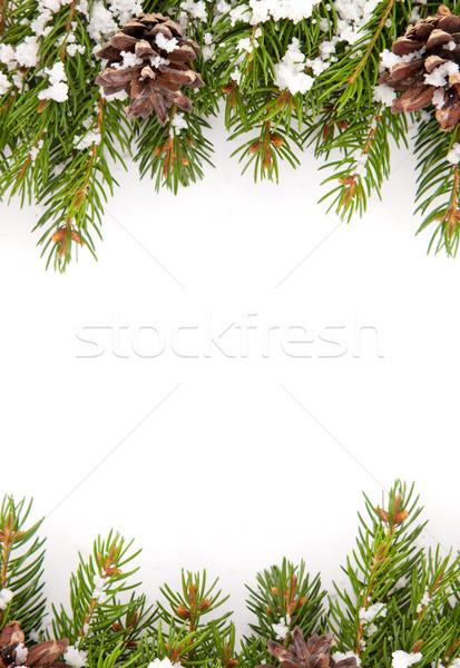 Natal quadro neve isolado branco feliz Foto stock © bloodua