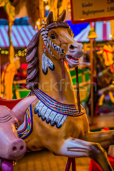 Carousel. Horses on a carnival Merry Go Round. Stock photo © bloodua