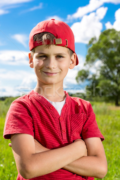 Boy Child Portrait Smiling Cute ten years old outdoor Stock photo © bloodua