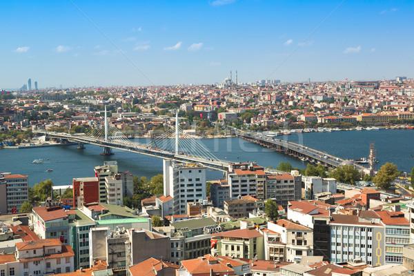 Isztambul panorámakép kilátás torony Törökország arany Stock fotó © bloodua