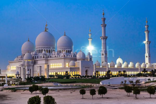 Stok fotoğraf: Cami · gece · Abu · Dabi · Birleşik · Arap · Emirlikleri · gökyüzü