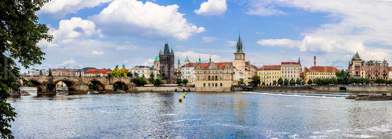 Brug rivier Praag zomer stadsgezicht panoramisch Stockfoto © bloodua
