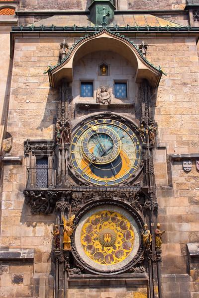 Csillagászati óra Prága Csehország arc város Stock fotó © bloodua
