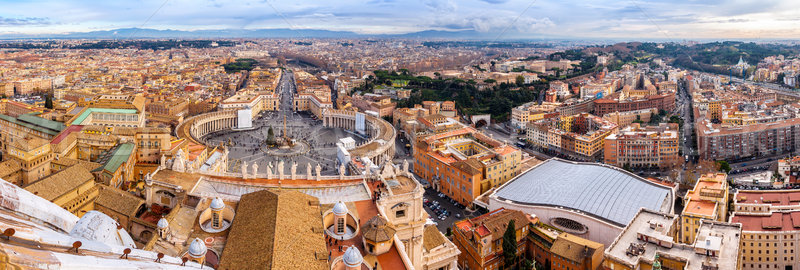 Saint Peter's Square in Vatican and aerial view of Rome Stock photo © bloodua