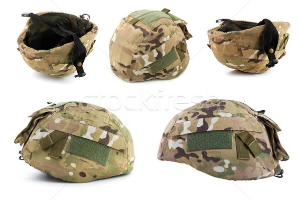 Militar casco blanco fondo guerra Foto stock © bloodua