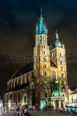 Krakow old city at night St. Mary's Church at night. Krakow Pola Stock photo © bloodua