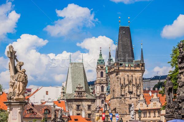 Сток-фото: моста · Прага · лет · город · Церкви · синий