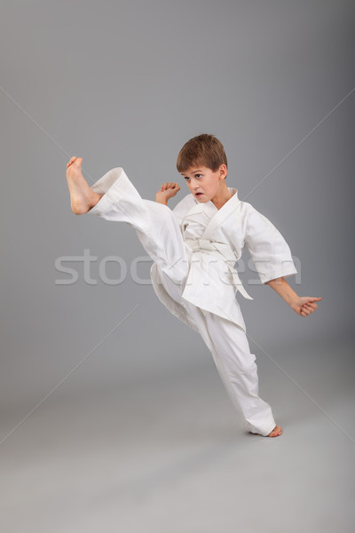 Karate fiú fehér kimonó harcol izolált Stock fotó © bloodua