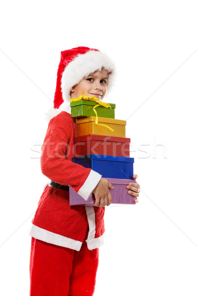 Boy holding a christmas gift Stock photo © bloodua