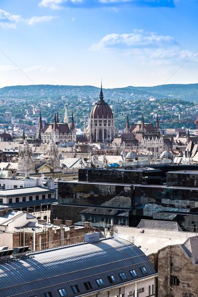 View at Budapest and belfry from the top of St. Stephen Basilica Stock photo © bloodua