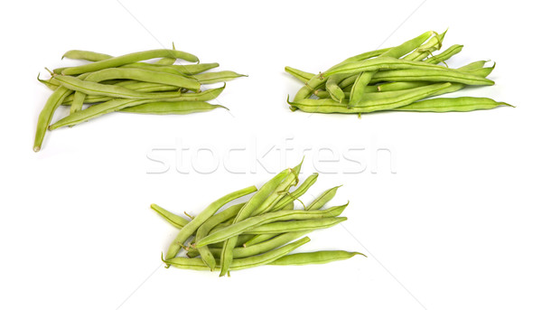 set of Bunches of fresh green beans on white Stock photo © bloodua