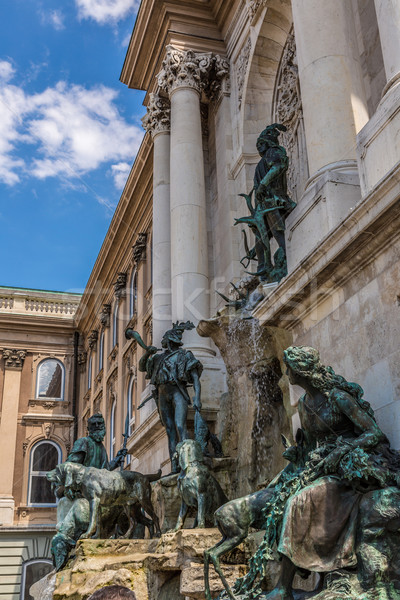 Avcılık heykel kraliyet saray Budapeşte bahar Stok fotoğraf © bloodua