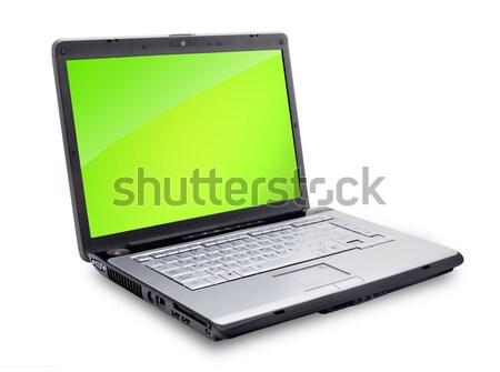 Foto stock: Laptop · abrir · teclado · tela · isolado