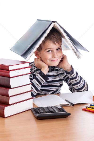 ストックフォト: かわいい · 男子生徒 · 孤立した · 白 · 笑顔 · 世界中