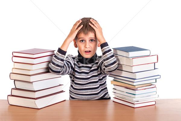 Stanco scolaro isolato bianco libro istruzione Foto d'archivio © bloodua