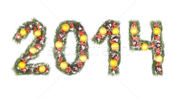 Photo stock: 2014 · nombre · écrit · arbre · de · noël · isolé