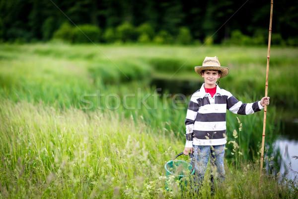 Young boy fishing in a river Stock photo © bloodua