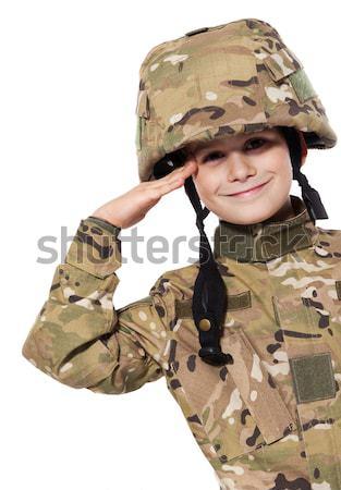 Jonge soldaat geweer zoals geïsoleerd Stockfoto © bloodua