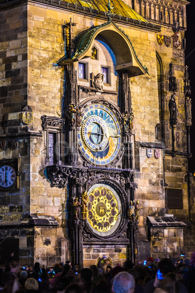 Astronômico relógio Praga República Checa cidade assinar Foto stock © bloodua