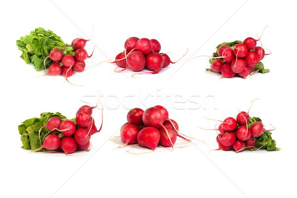 set of bunch of fresh radishes isolated on white Stock photo © bloodua