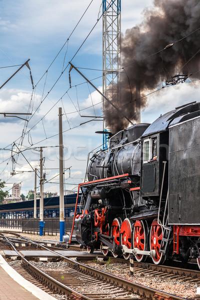 öreg gőz vonat állomás klasszikus gép Stock fotó © bloodua