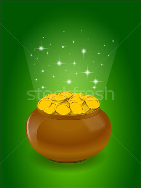Pot full of golden coins Stock photo © blotty