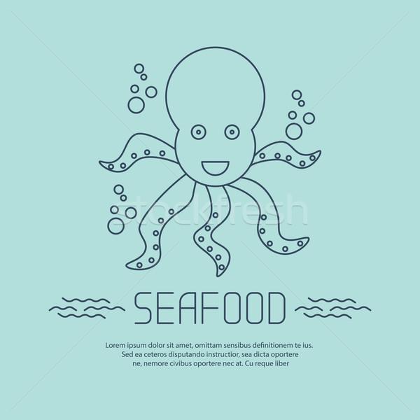 морепродуктов икона осьминога пузырьки вектора пляж Сток-фото © blotty
