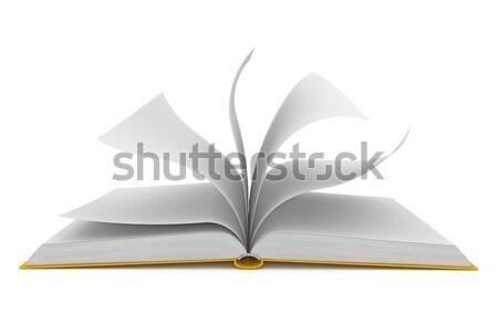 Foto stock: Libro · abierto · blanco · ordenador · generado · imagen · resumen