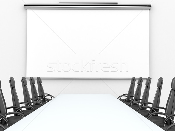 Render of meeting room with projection screen Stock photo © blotty