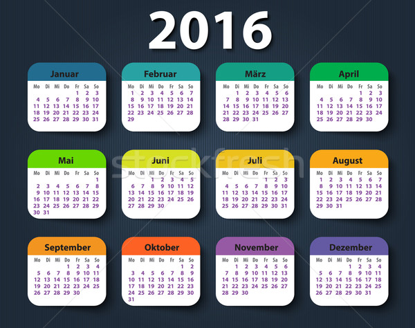 Calendar 2016 year German. Week starting on Monday Stock photo © blotty