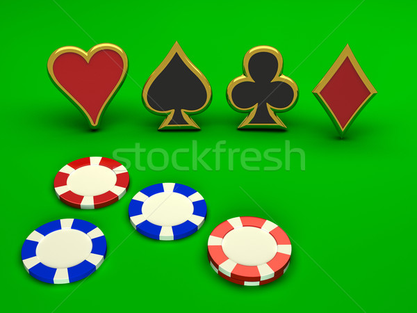 Suit with chips on green Stock photo © blotty