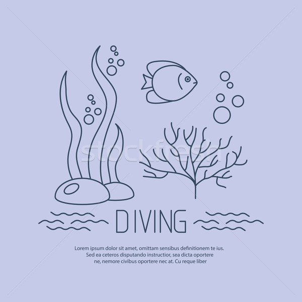 Diving icon with fishs and seaweed Stock photo © blotty