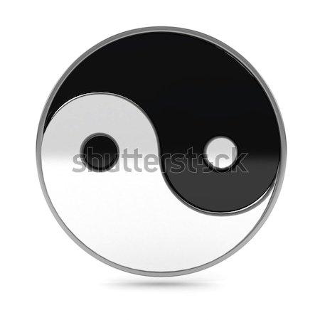 Yin yang simbolo bianco rendering 3d costruzione nero Foto d'archivio © blotty