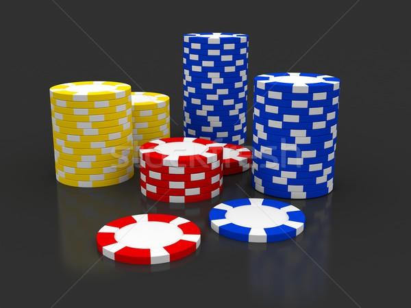 商业照片: 赌场 · 芯片 · 3d · 呈现 · 图像 · 红色 / casino