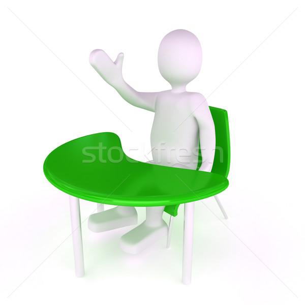 3d persoon witte 3d render business ontwerp student Stockfoto © blotty