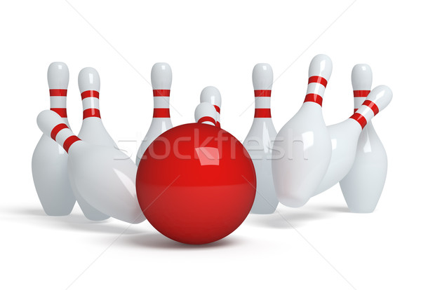 Bowling ball crashing into the pins Stock photo © blotty