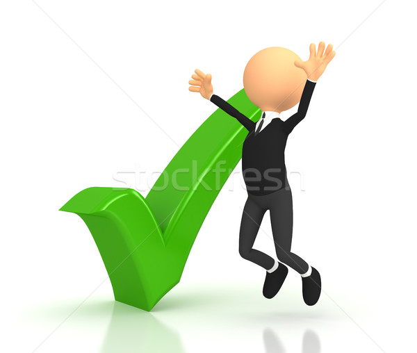 Person and green checkmark on white background Stock photo © blotty