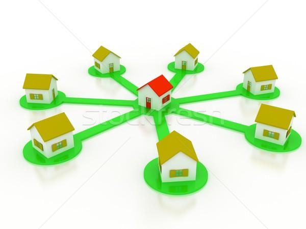 グループ 住宅 販売 3dのレンダリング 建設 モデル ストックフォト © blotty
