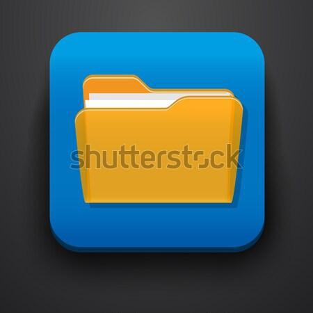 Abrir dobrador símbolo ícone azul vetor Foto stock © blotty