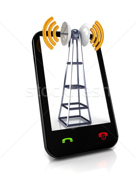 Komórkowych biały komunikacji telewizji budowy technologii Zdjęcia stock © blotty