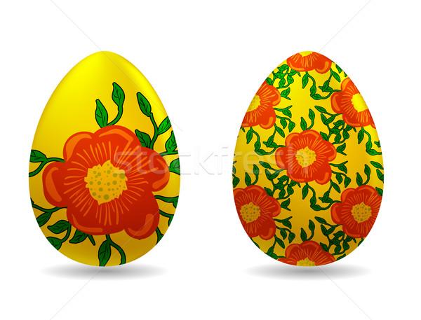 Foto stock: Huevos · de · Pascua · Pascua · primavera · diseno · pintura · azul