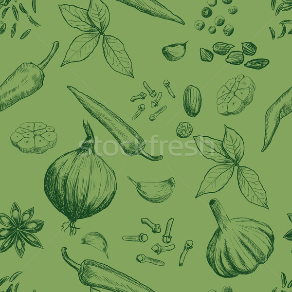 Dibujado a mano sin costura establecer orgánico especias alimentos Foto stock © blotty