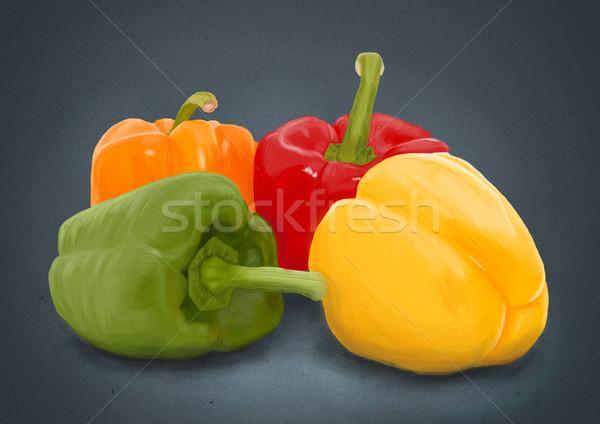 Handdrawn freshness paprika over grey Stock photo © blotty