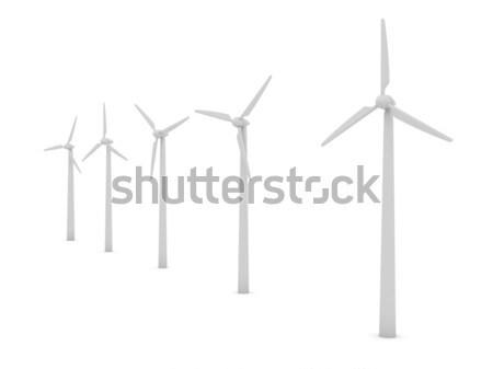 Szélturbinák fehér számítógép generált kép természet Stock fotó © blotty