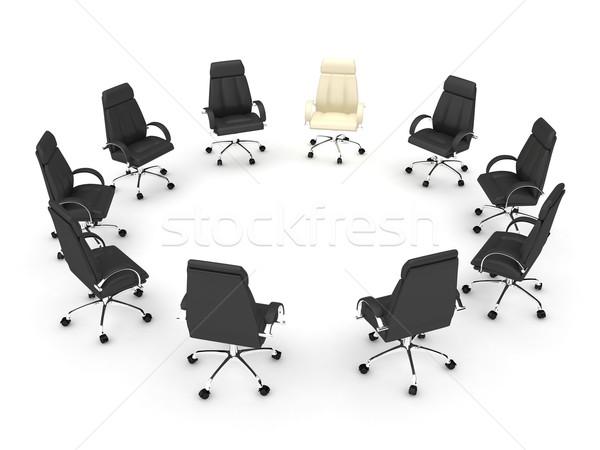 ストックフォト: ビジネス · 金融 · 会議 · 3dのレンダリング · 作業 · 椅子